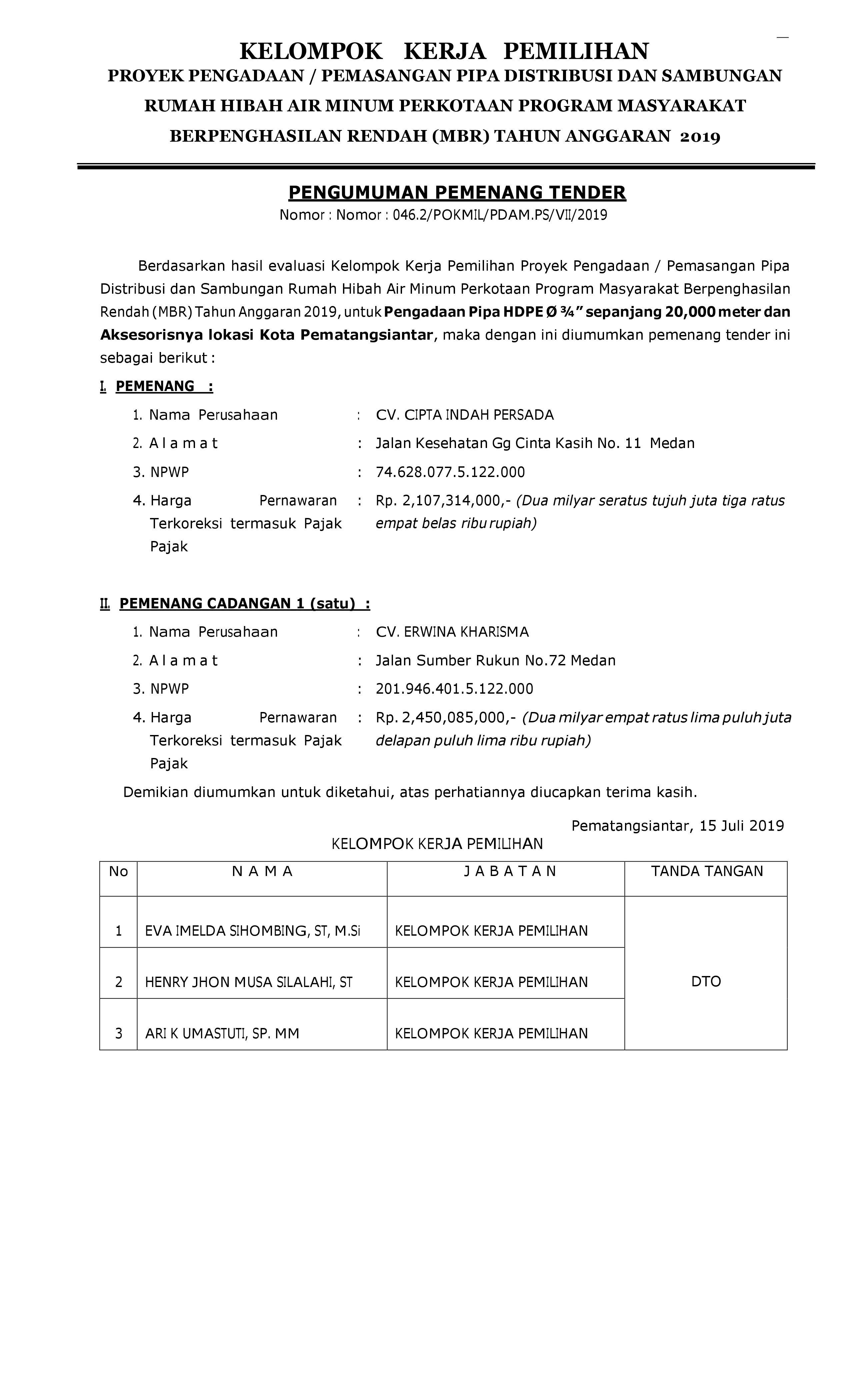PENGUMUMAN PEMENANG TENDER PROGRAM HIBAH AIR MINUM (MBR) PDAM TIRTAULI TA.2019 PENGADAAN PIPA HDPE