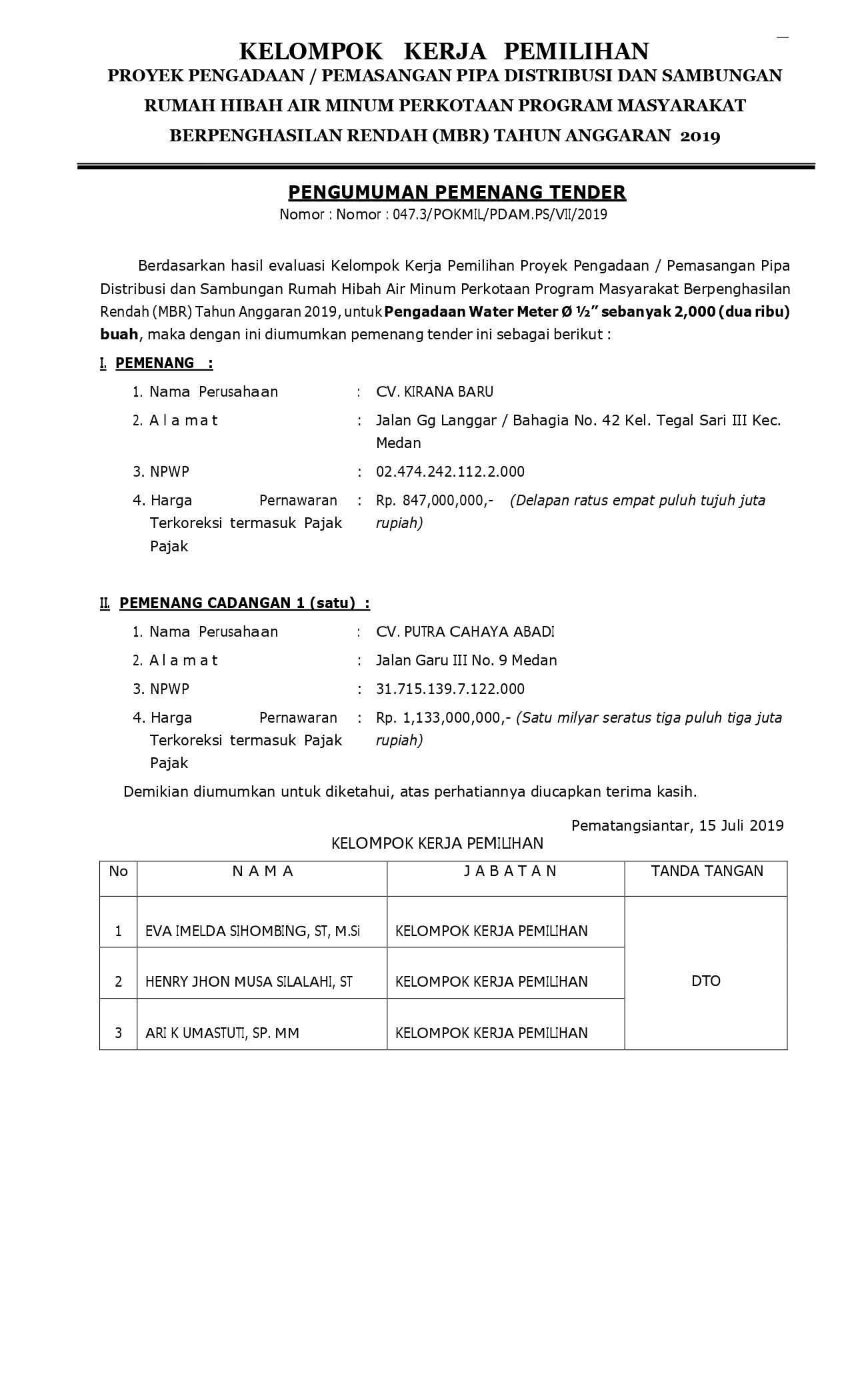 PENGUMUMAN PEMENANG TENDER PROGRAM HIBAH AIR MINUM (MBR) PDAM TIRTAULI TA.2019 PENGADAAN WATER METER