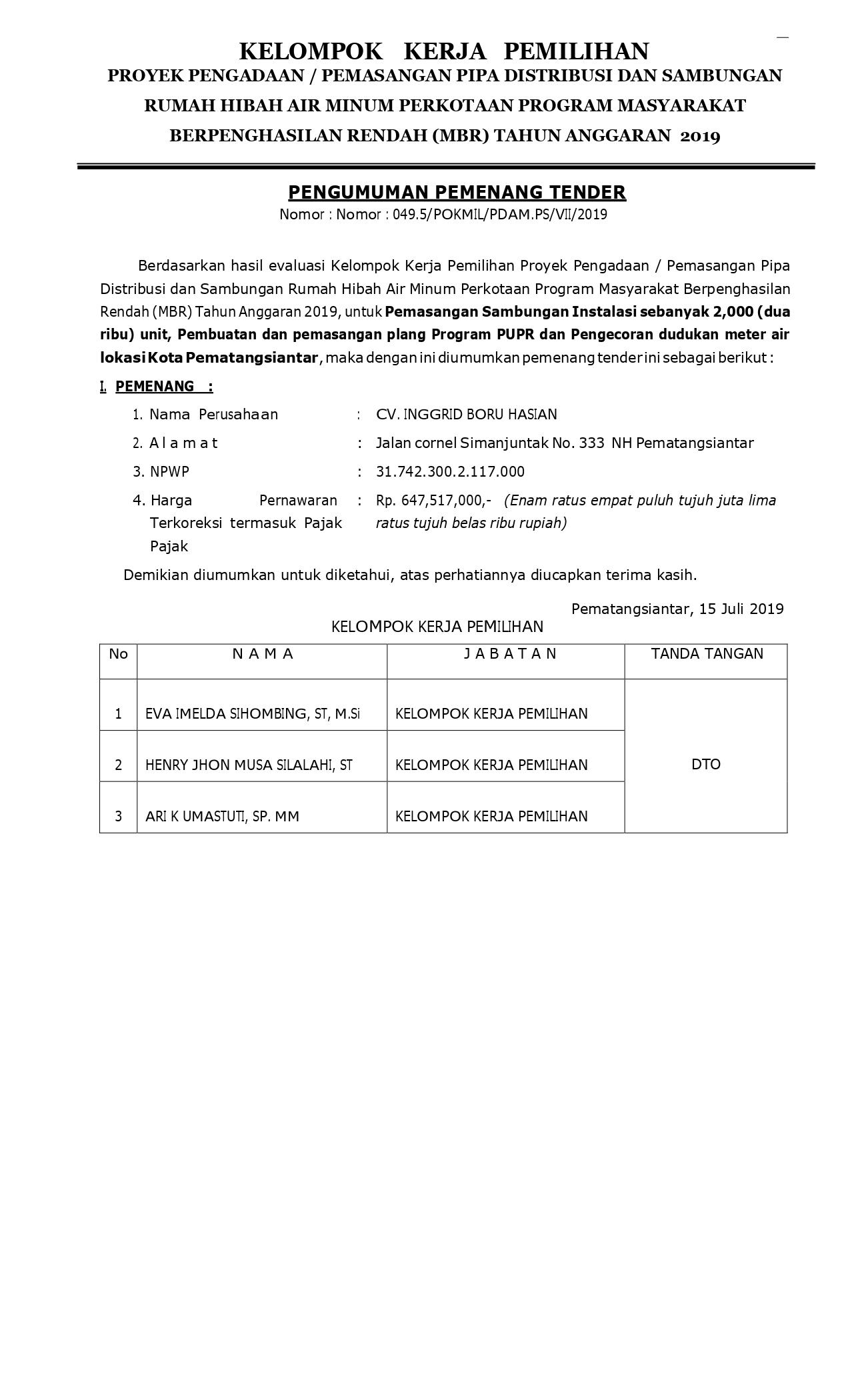PENGUMUMAN PEMENANG TENDER PROGRAM HIBAH AIR MINUM (MBR) PDAM TIRTAULI TA.2019  PEMASANGAN SAMBUNGAN INSTALASI