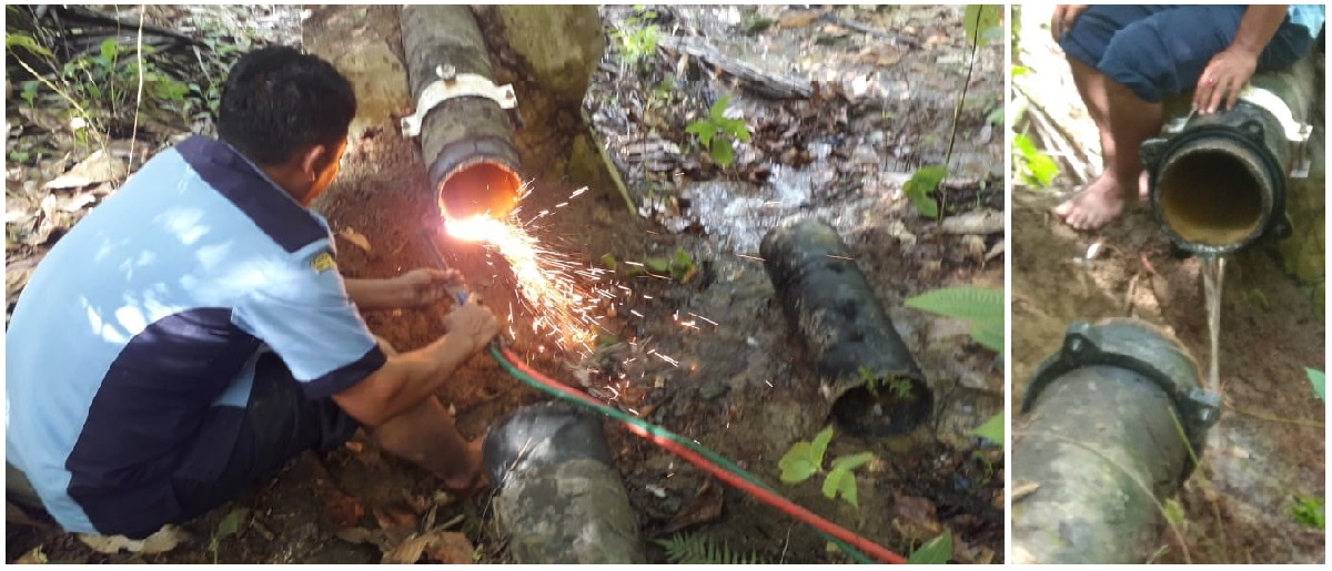 Perbaikan Pipa  Dia 8 DCIP (Ductile Cast Iron Pipa) dari umbul Naga Huta 1, 2