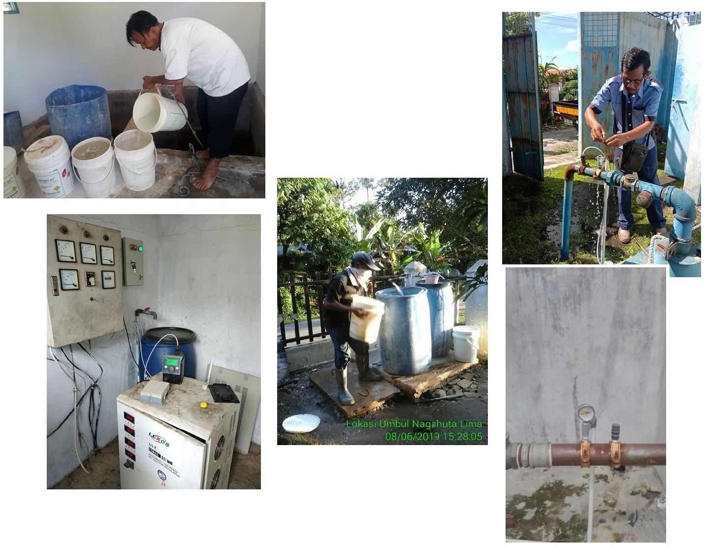 Kegiatan Pembubuhan Kaporit dan Pengecekan Pompa Dosing Kaporit Di Sumber Air PDAM Tirtauli Kota Pematangsiantar